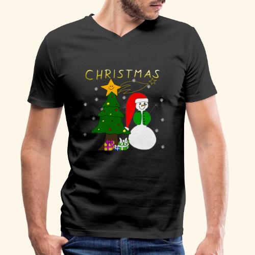 Christmas, Weihnachten, Schneemann, Weihnachtsbaum - Männer Bio-T-Shirt mit V-Ausschnitt von Stanley & Stella