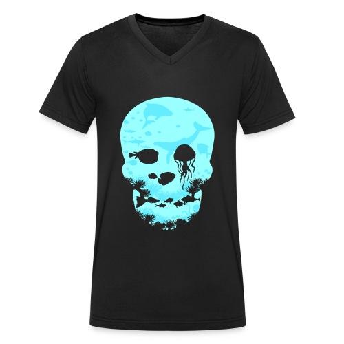 Totenkopf Ozean Meer - Männer Bio-T-Shirt mit V-Ausschnitt von Stanley & Stella
