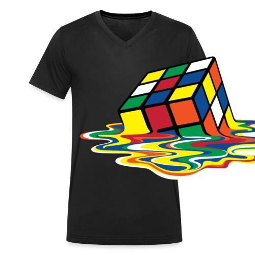 Rubik's Cube Melted Colourful Puddle - Ekologisk T-shirt med V-ringning herr från Stanley & Stella