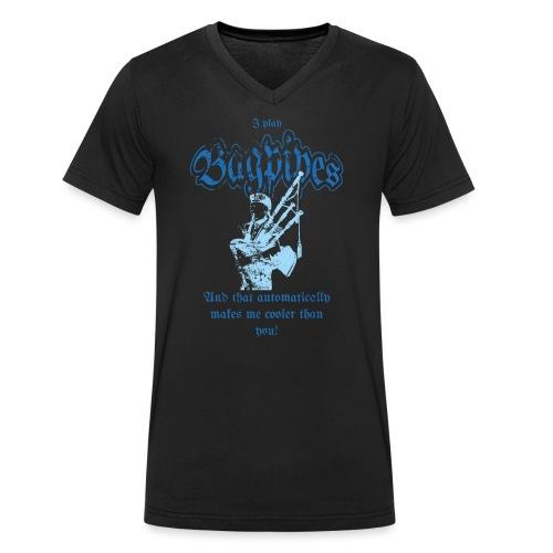 Bagpipes Player blau Dudelsack Spieler - Männer Bio-T-Shirt mit V-Ausschnitt von Stanley & Stella