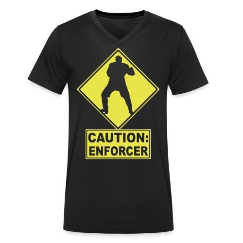 CAUTION: Hockey Enforcer - Men's Organic V-Neck T-Shirt by Stanley & Stella