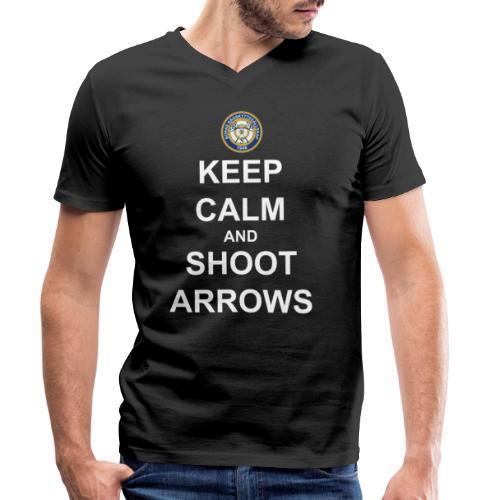 Keep Calm and Shoot Arrows - Vit text - Ekologisk T-shirt med V-ringning herr från Stanley & Stella