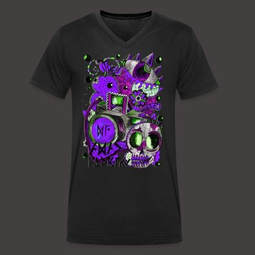 AGAC Picture Vert et Violet - T-shirt bio col V Stanley & Stella Homme