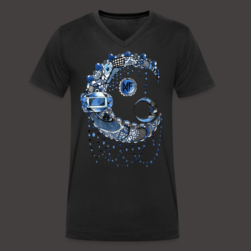 Lune dentelle bleue fonce - T-shirt bio col V Stanley & Stella Homme