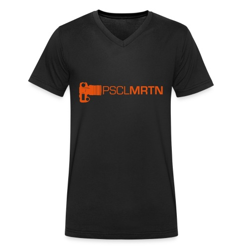 Black on Black with Orange Neck - Männer Bio-T-Shirt mit V-Ausschnitt von Stanley & Stella