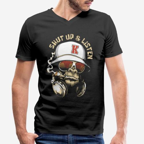 Gorillamusik - Männer Bio-T-Shirt mit V-Ausschnitt von Stanley & Stella
