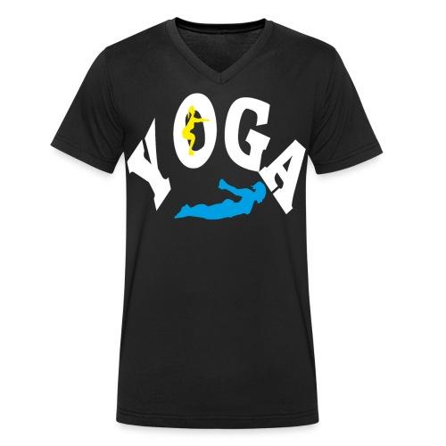 Yoga Schriftzug mit Posen Körperspannung Geschenk - Männer Bio-T-Shirt mit V-Ausschnitt von Stanley & Stella