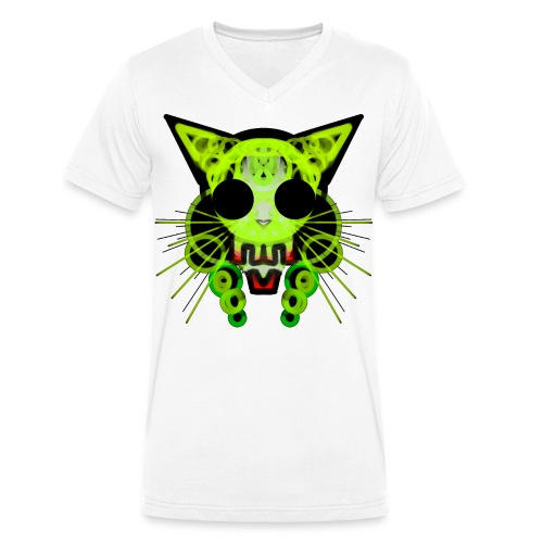 cat skeleton skull light green in deep black - Men's Organic V-Neck T-Shirt by Stanley & Stella