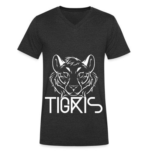 Tigris Logo Picture Text White - Men's Organic V-Neck T-Shirt by Stanley & Stella