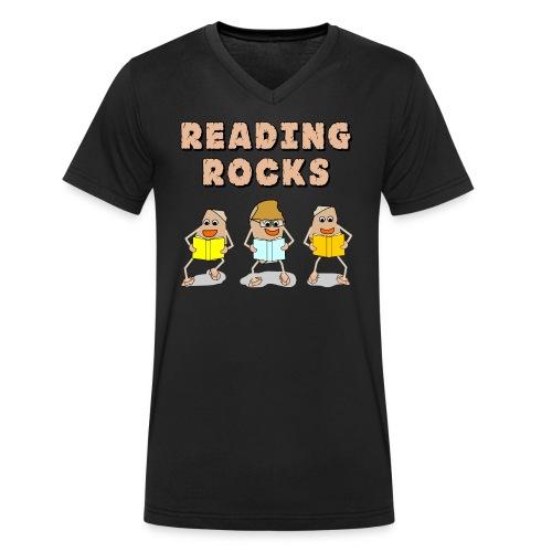Reading Rocks Funny Book Lovers - Men's Organic V-Neck T-Shirt by Stanley & Stella