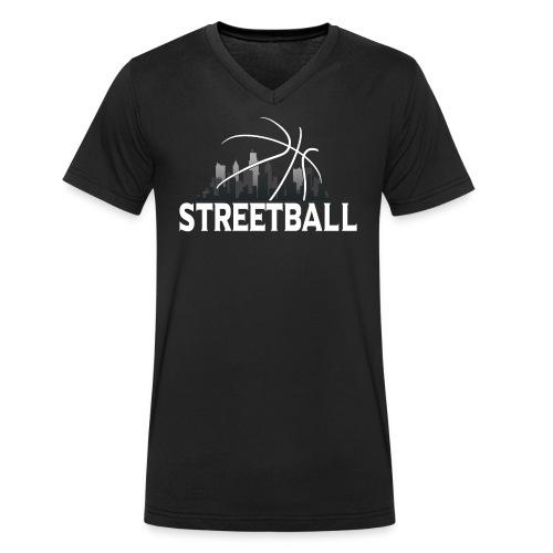 Streetball Skyline - Street basketball - Men's Organic V-Neck T-Shirt by Stanley & Stella