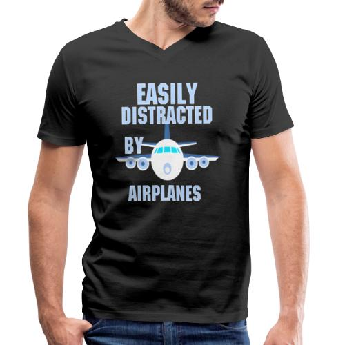 Easily distracted by airplanes - Aviation, flying - T-shirt bio col V Stanley & Stella Homme