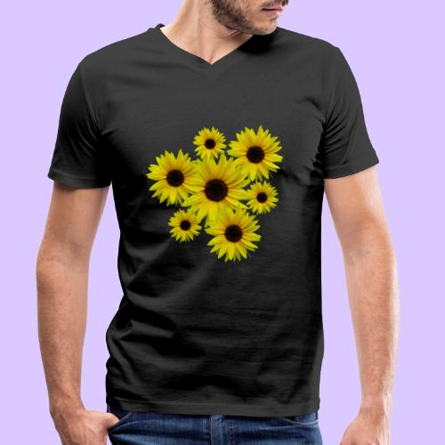 Sonnenblumenstrauß, Sonnenblumen, Blumen, Blüten - Männer Bio-T-Shirt mit V-Ausschnitt von Stanley & Stella