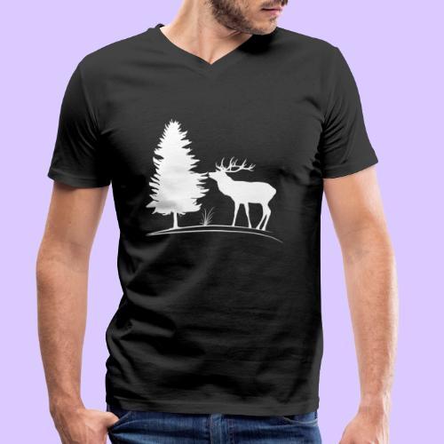 Hirsch, Geweih, Rehbock, Jagd, Wald, Baum, Wild - Männer Bio-T-Shirt mit V-Ausschnitt von Stanley & Stella