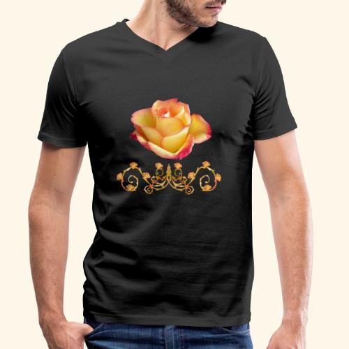 orange Rose, Ornament, Rosen, Blumen, Blüten, edel - Männer Bio-T-Shirt mit V-Ausschnitt von Stanley & Stella