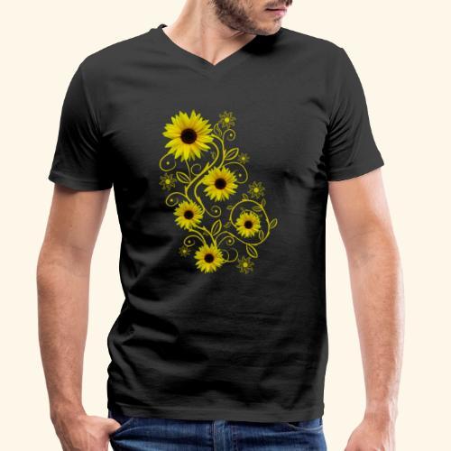 gelbe Sonnenblumen, Ornamente, Sonnenblume, Blumen - Männer Bio-T-Shirt mit V-Ausschnitt von Stanley & Stella