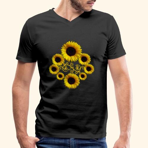 Sonnenblumen mit Ornament, Sonnenblume, Blumen - Männer Bio-T-Shirt mit V-Ausschnitt von Stanley & Stella