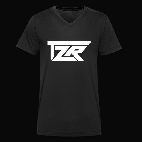 TZR White Logo - Men's Organic V-Neck T-Shirt by Stanley & Stella