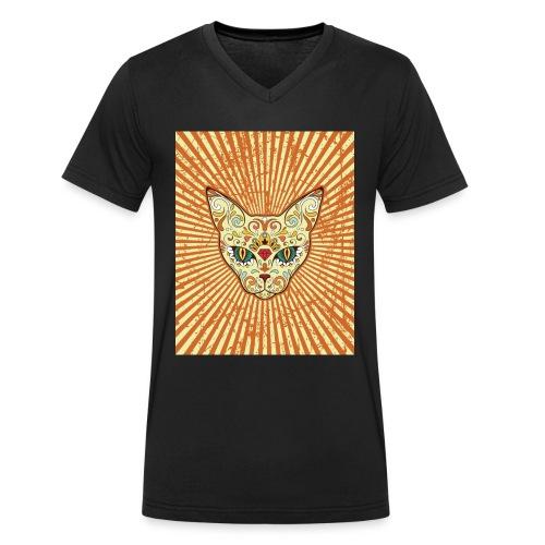 cat calavera grunge effect t shirt design - T-shirt ecologica da uomo con scollo a V di Stanley & Stella