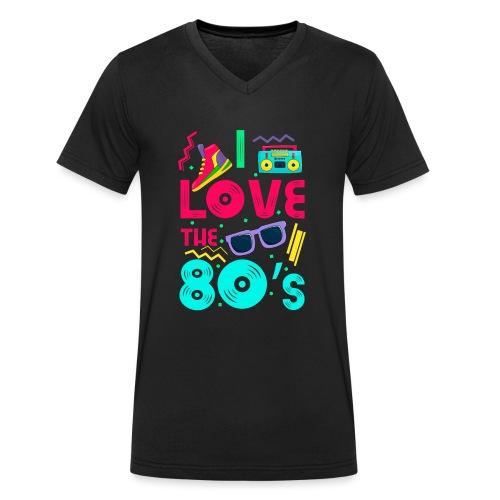 I love the 80s - cool and crazy - Männer Bio-T-Shirt mit V-Ausschnitt von Stanley & Stella