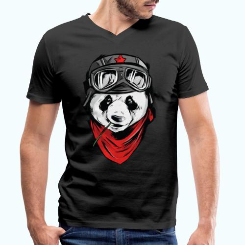 Panda pilot - Men's Organic V-Neck T-Shirt by Stanley & Stella