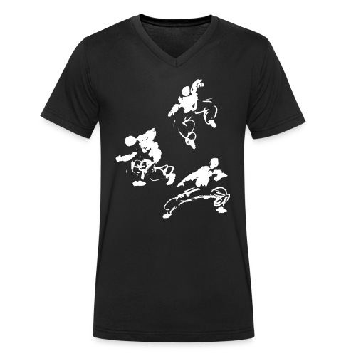Kung fu circle / ink fighter in motion - Men's Organic V-Neck T-Shirt by Stanley & Stella