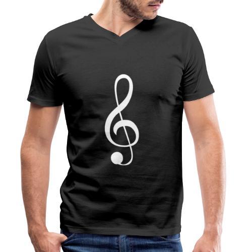 Musik Symbol Violinschlüssel Notenschlüssel - Männer Bio-T-Shirt mit V-Ausschnitt von Stanley & Stella