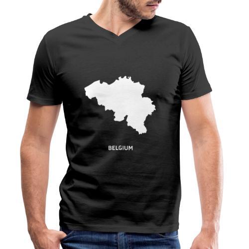 Europa Silhouette Symbol Belgien Land Staat - Männer Bio-T-Shirt mit V-Ausschnitt von Stanley & Stella