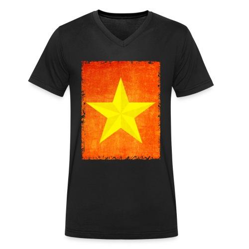 yellow amish barn star t-shirt design gift idea - T-shirt ecologica da uomo con scollo a V di Stanley & Stella