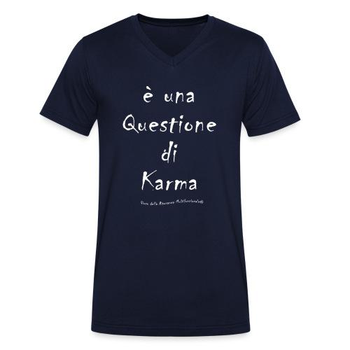 questione di Karma Bianco - T-shirt ecologica da uomo con scollo a V di Stanley & Stella