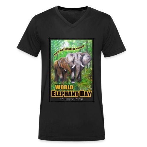 Welt-Elefanten-Tag 12. August 2019 - Männer Bio-T-Shirt mit V-Ausschnitt von Stanley & Stella