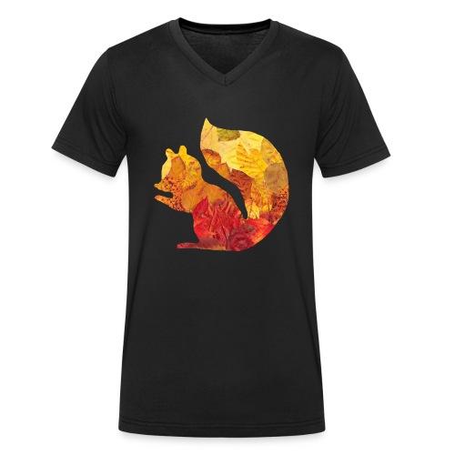 Eichhörnchen aus Blätter - Männer Bio-T-Shirt mit V-Ausschnitt von Stanley & Stella
