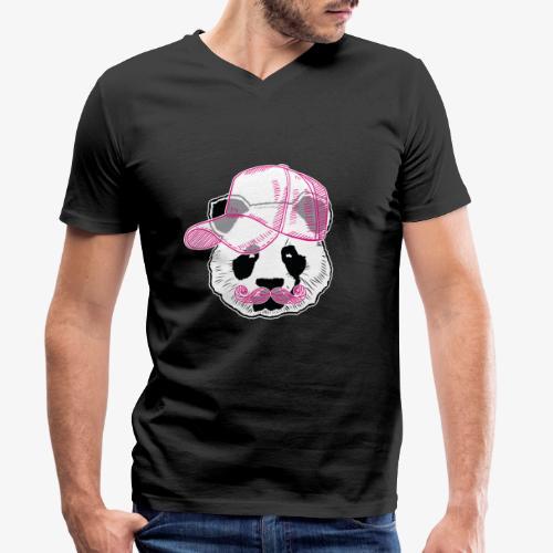 Panda - Pink - Cap - Mustache - Männer Bio-T-Shirt mit V-Ausschnitt von Stanley & Stella