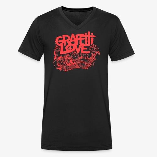 cosmos1 red graffiti love - Männer Bio-T-Shirt mit V-Ausschnitt von Stanley & Stella