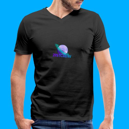 PurpleSaturn T-Shirt Design - Men's Organic V-Neck T-Shirt by Stanley & Stella