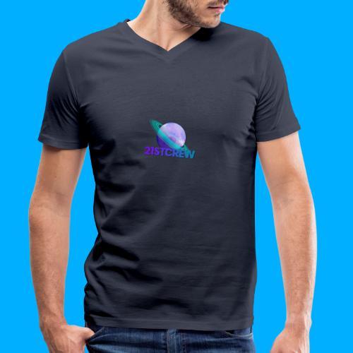 PurpleSaturn T-Shirt Design - Men's Organic V-Neck T-Shirt by Stanley & Stella