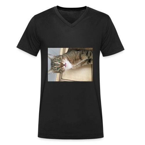 Kotek - Ekologiczna koszulka męska z dekoltem w serek Stanley & Stella