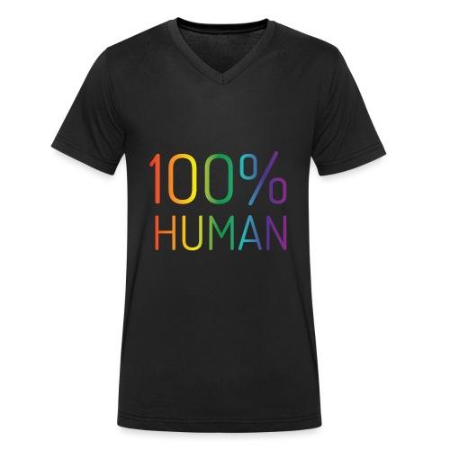 100% Human in regenboog kleuren - Mannen bio T-shirt met V-hals van Stanley & Stella
