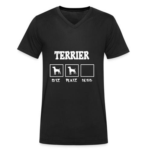 Terrier SITZ PLATZ BLEIB - Männer Bio-T-Shirt mit V-Ausschnitt von Stanley & Stella