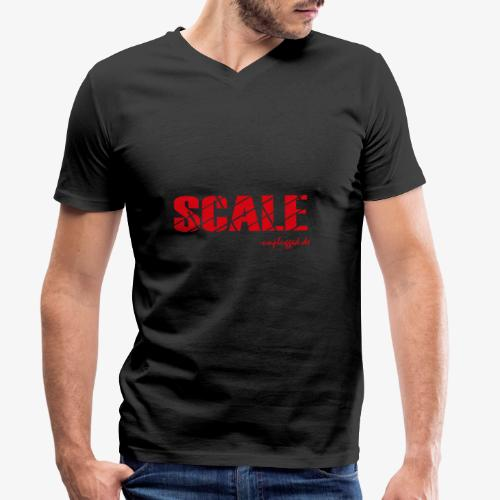 SCALE Logo rot - Männer Bio-T-Shirt mit V-Ausschnitt von Stanley & Stella