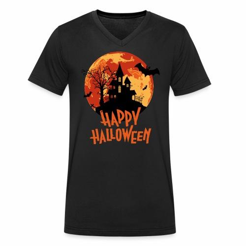Bloodmoon Haunted House Halloween Design - Männer Bio-T-Shirt mit V-Ausschnitt von Stanley & Stella