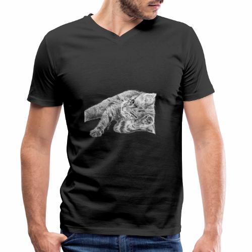 Petit chaton au crayon gris - T-shirt bio col V Stanley & Stella Homme
