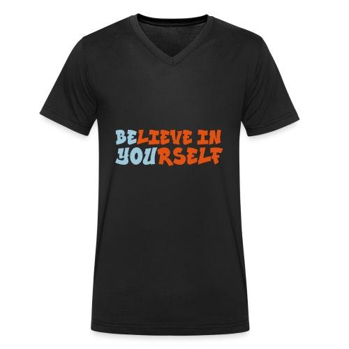 Believe in yourself - Mannen bio T-shirt met V-hals van Stanley & Stella