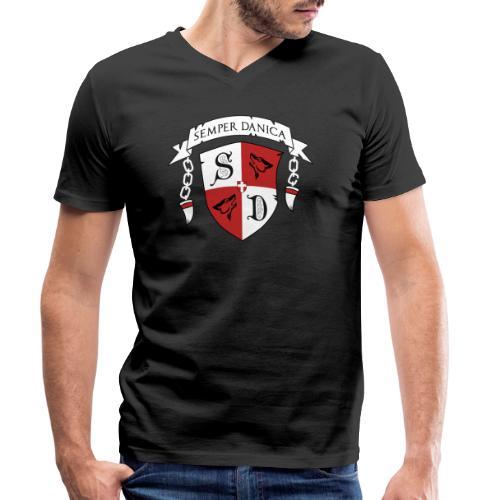 SD logo - hvide lænker - Økologisk Stanley & Stella T-shirt med V-udskæring til herrer