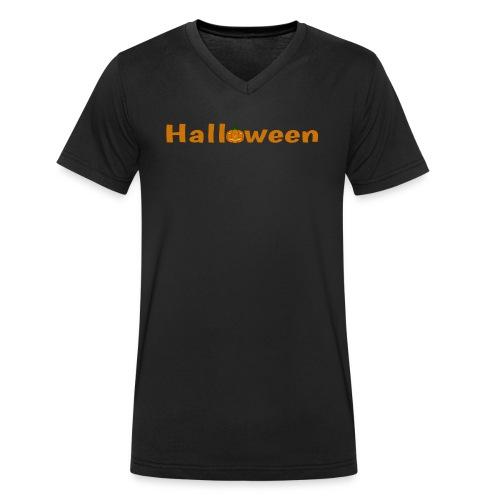 Halloween mit o als Kürbis - Männer Bio-T-Shirt mit V-Ausschnitt von Stanley & Stella