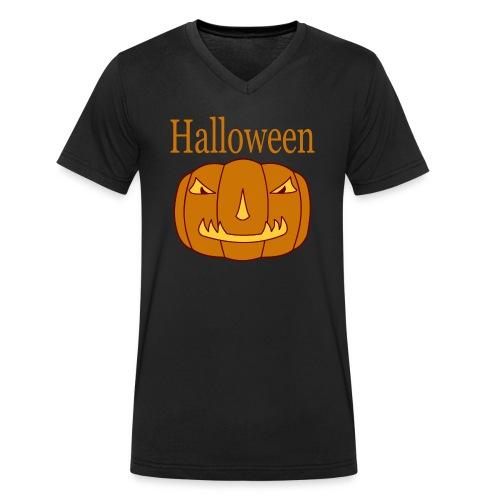 Halloween Kürbis mit Gruselmaske - Männer Bio-T-Shirt mit V-Ausschnitt von Stanley & Stella