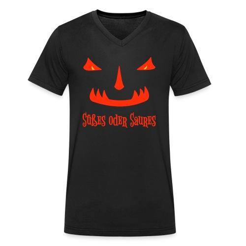 Halloween Süßes oder Saures mit Monstergesicht - Männer Bio-T-Shirt mit V-Ausschnitt von Stanley & Stella
