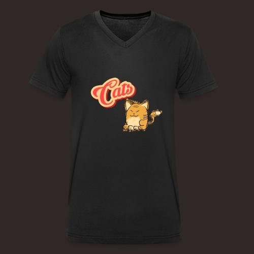 Katze | Katzen süß Schriftzug - Männer Bio-T-Shirt mit V-Ausschnitt von Stanley & Stella