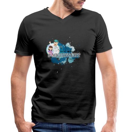 Mehrwert mit Richtig Schwanger - Männer Bio-T-Shirt mit V-Ausschnitt von Stanley & Stella