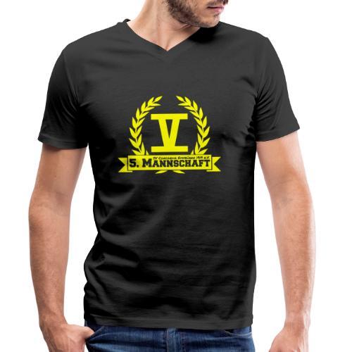 V mit College-Schriftzug - Gelb - Männer Bio-T-Shirt mit V-Ausschnitt von Stanley & Stella